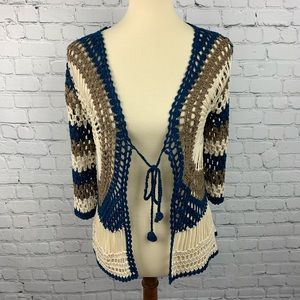 Crochet Open Knit Cardigan Cover Up